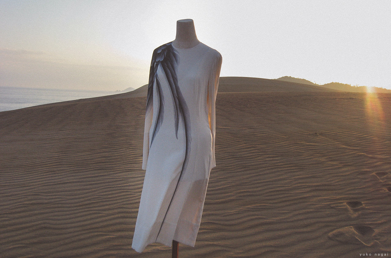A hand painted wing dress on sand dune.