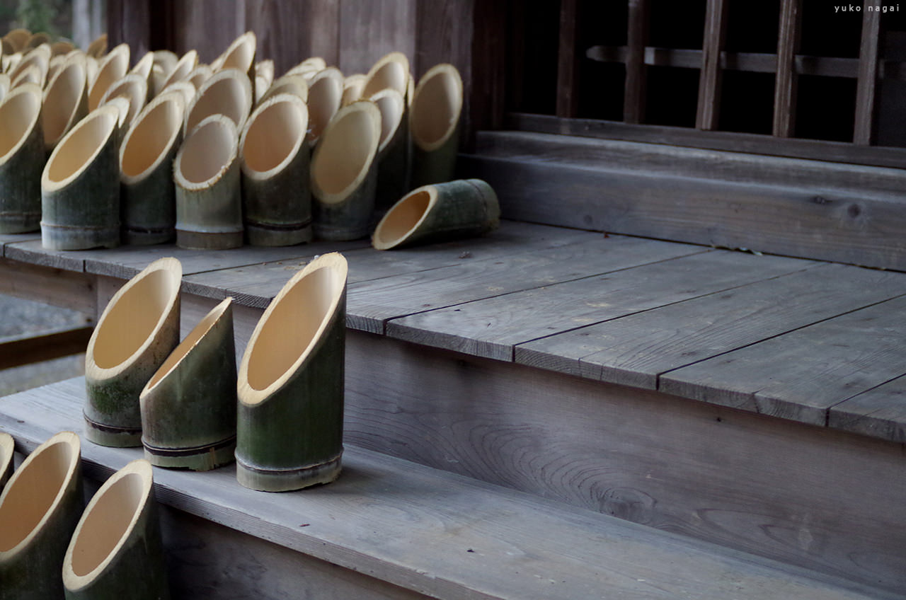 A bamboo candle holders.