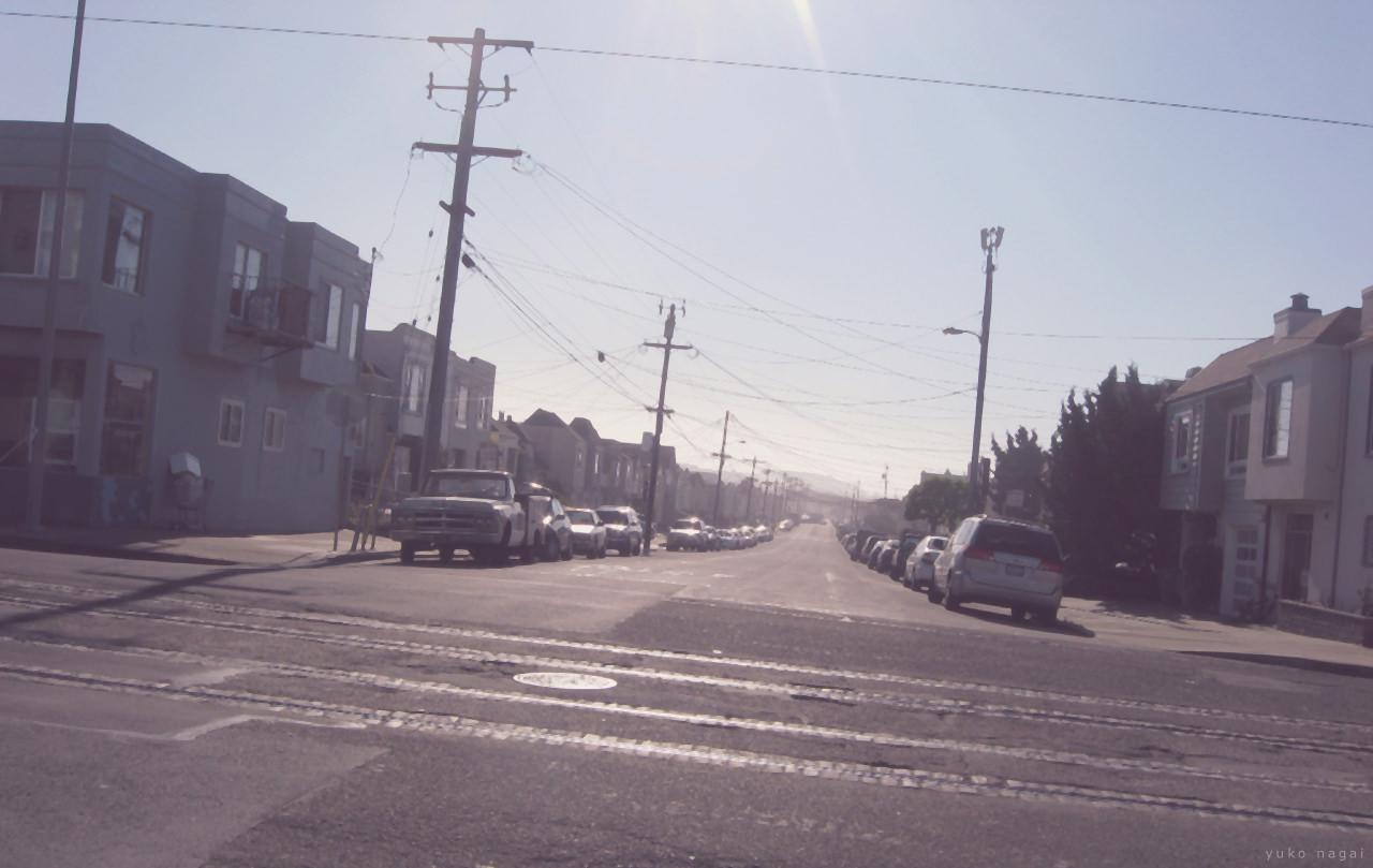 San Francisco city streets in setting sun.