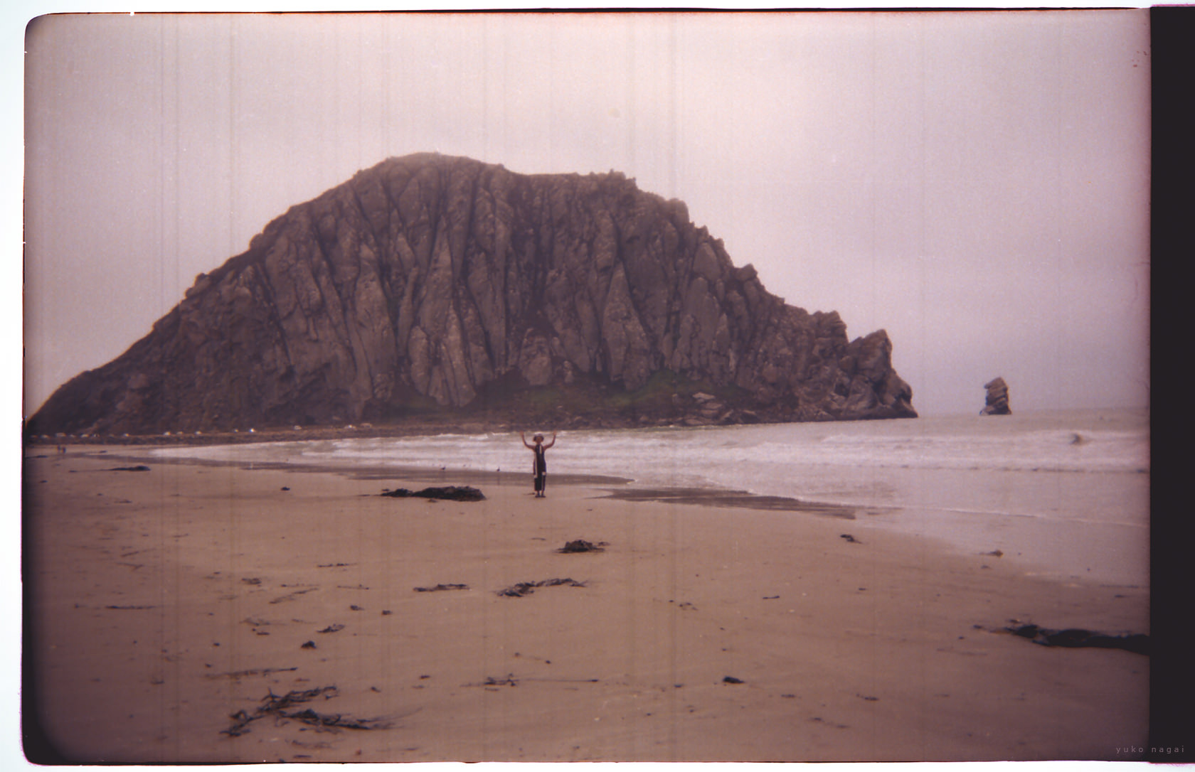 Beach with a large rock and a tourist.