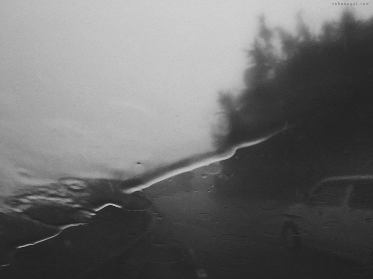 A windshield pattern on rainy drive.