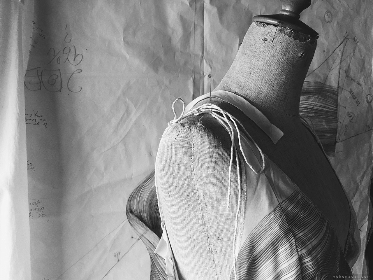 Textile art work in studio.