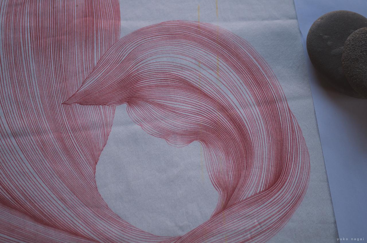 A flower petal drawing in progress.