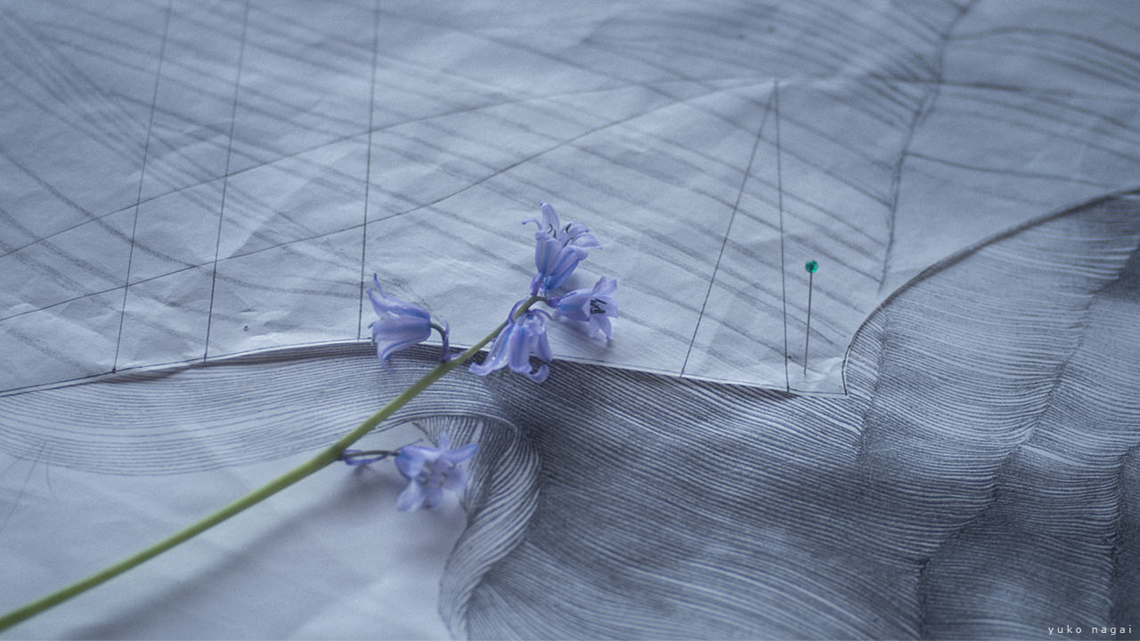 Bluebell blossoms and an art work in progress.