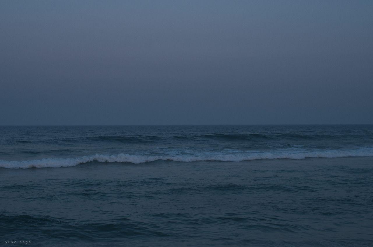 Sea shore at sunset.