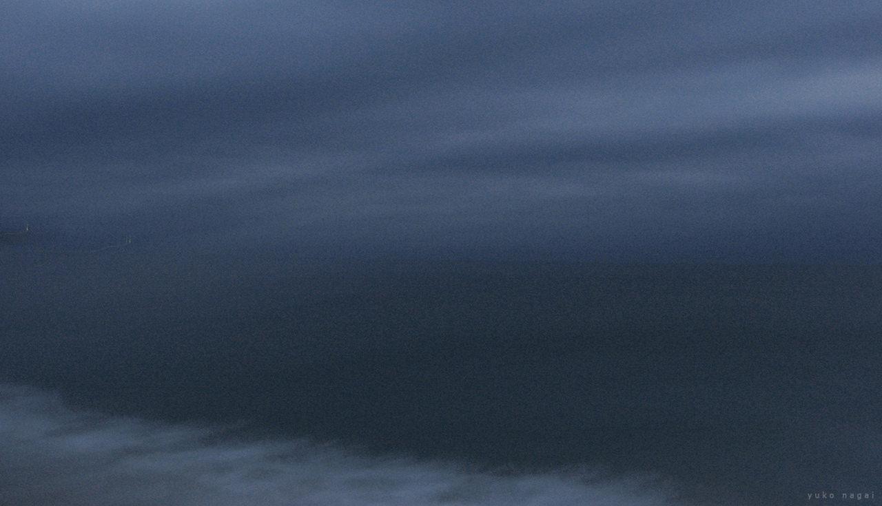 Sea shore at night.