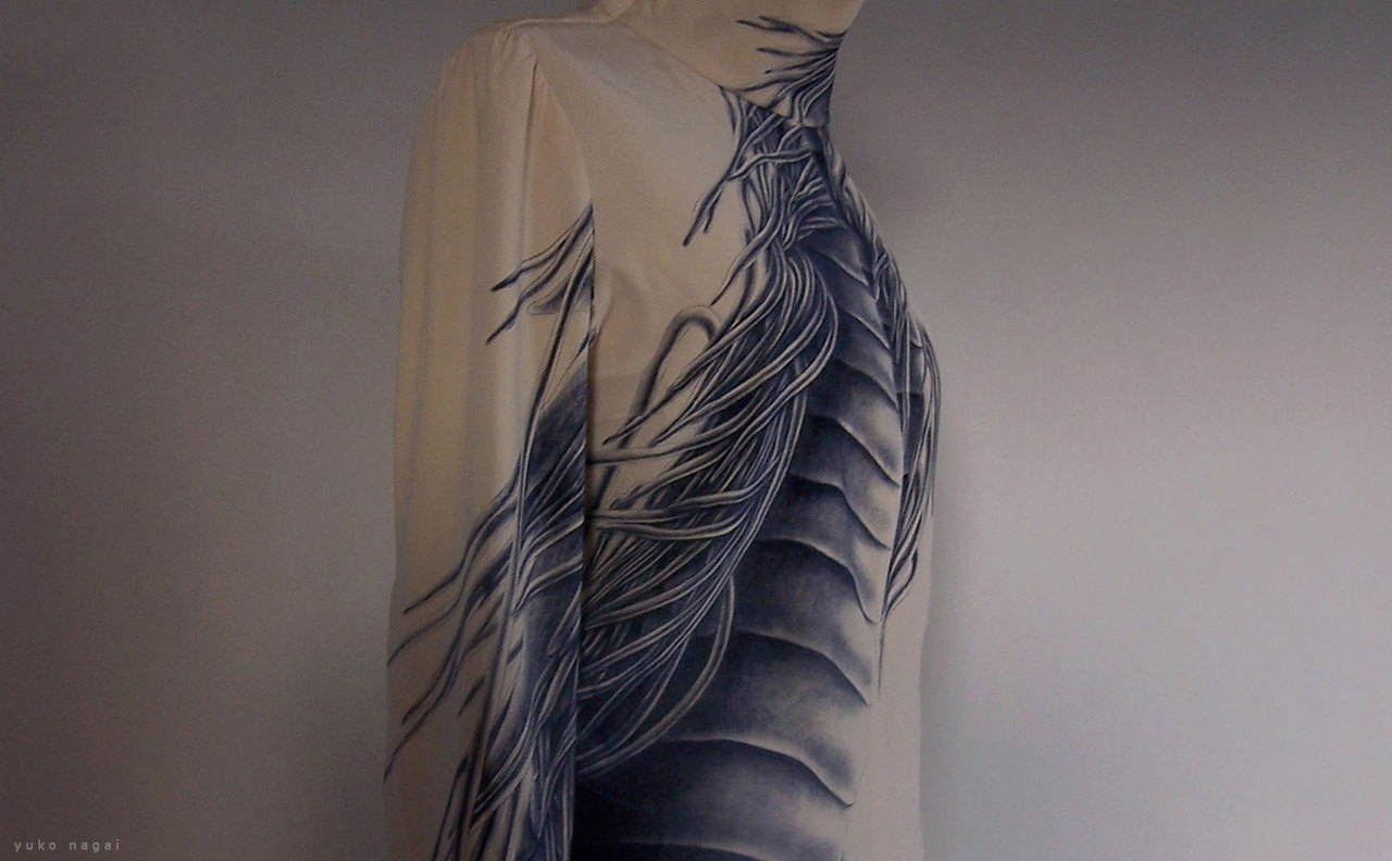 Dragon painting on silk blouse.