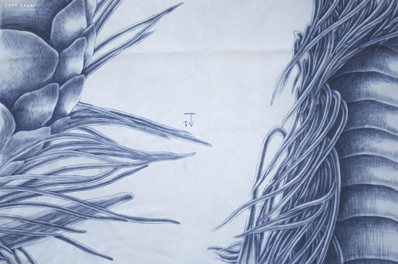 A dragon drawing on silk.