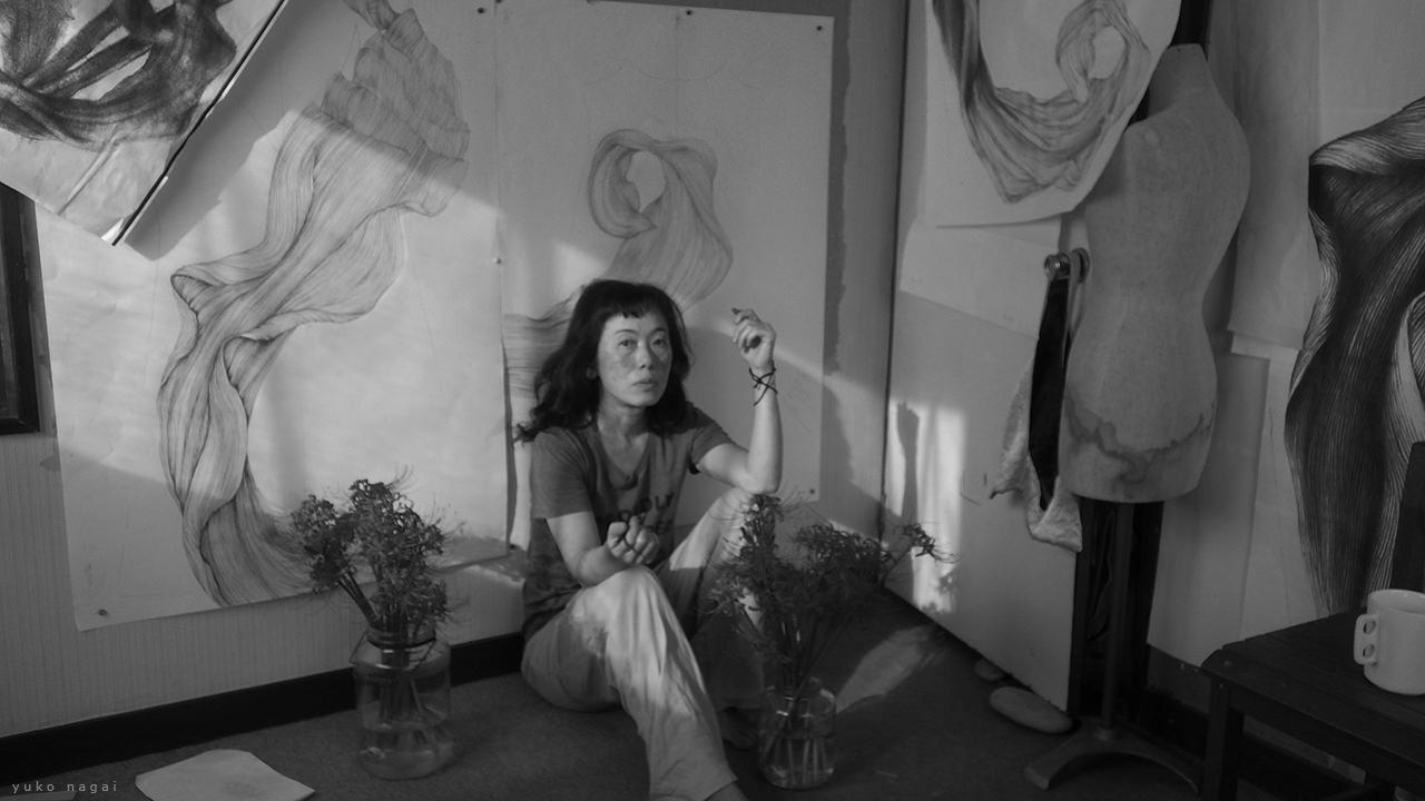An artist in her studio.