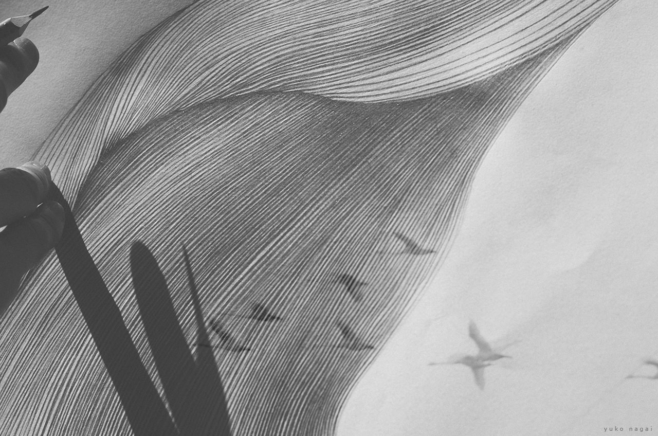 Line drawing, an artist's hand layered with a flock of swans.
