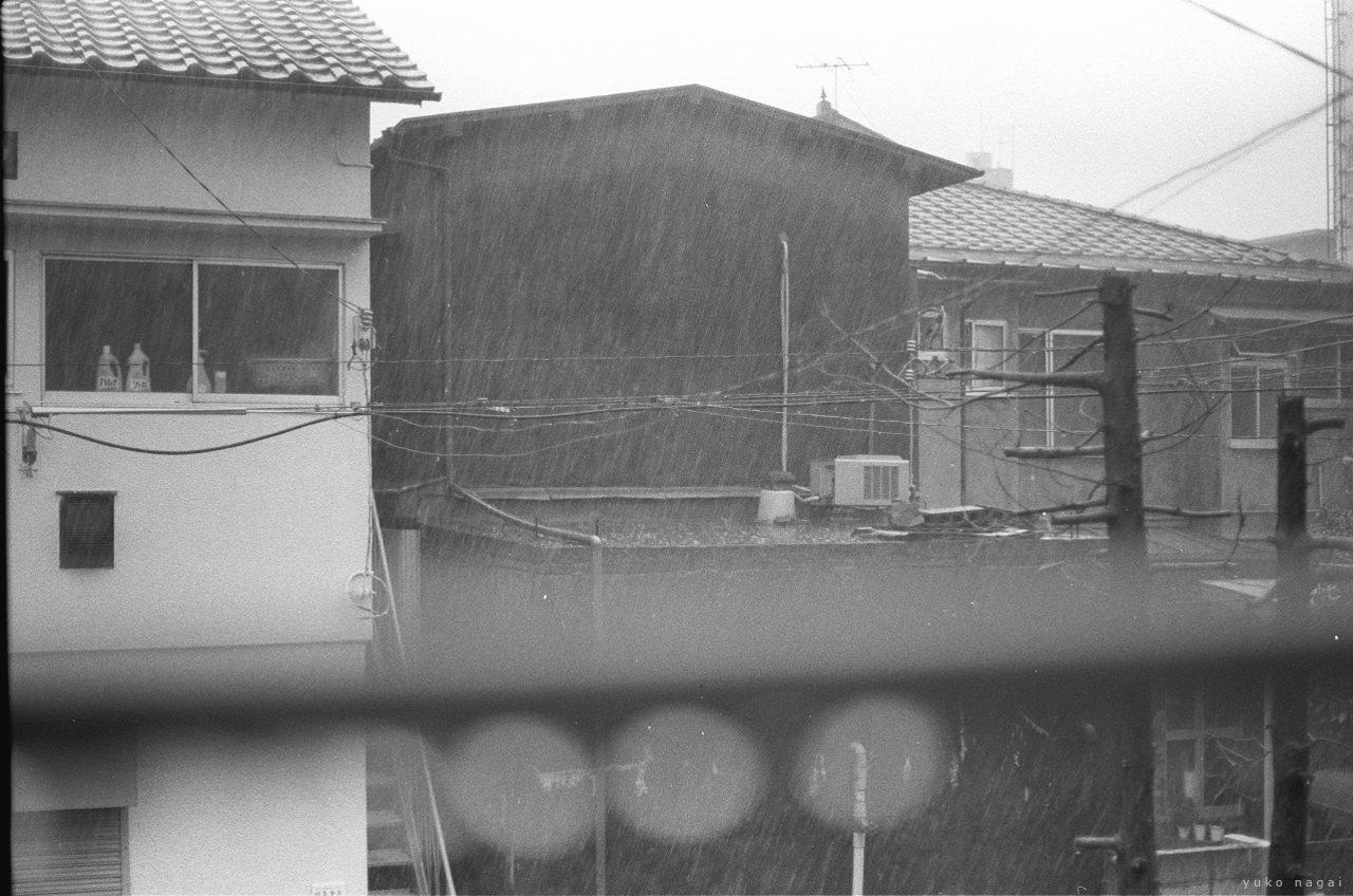 City housings in rain.
