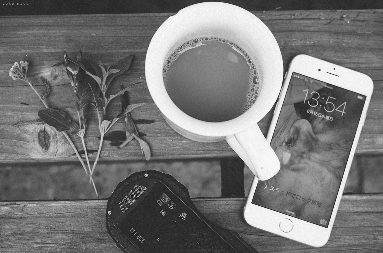 Flowers, a coffee cup and cameras.