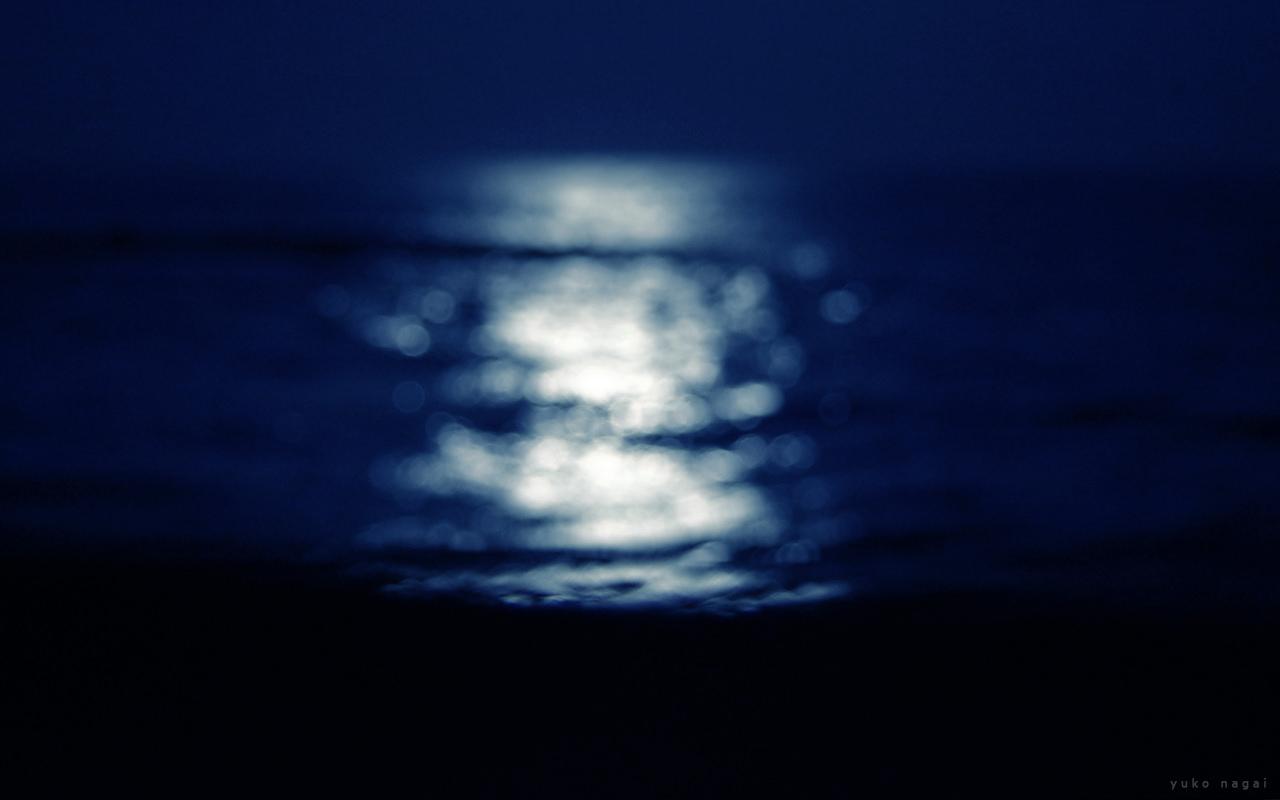 Moon-lit sea surface.