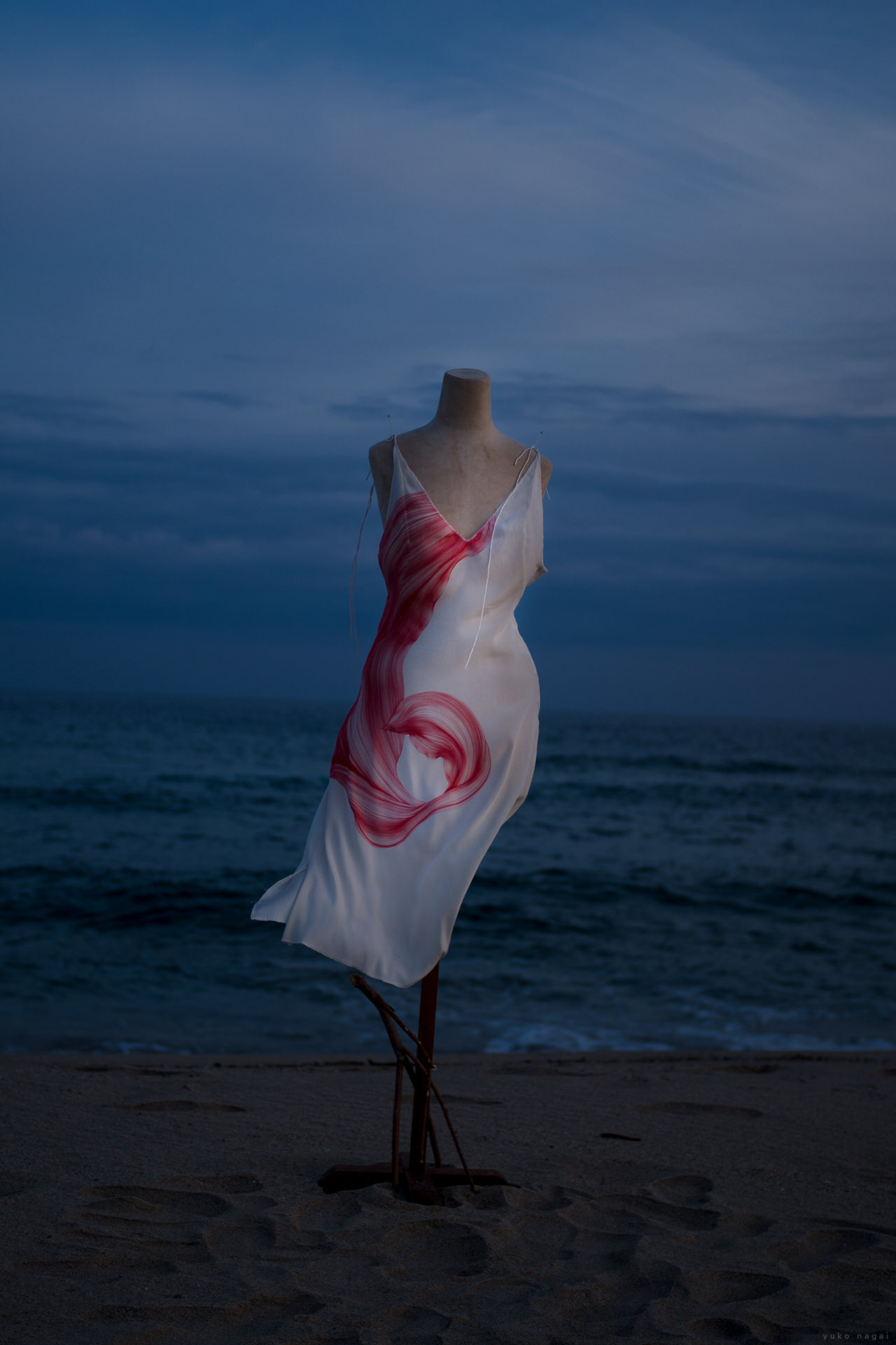 A dress with a lily petal drawing on night beach.