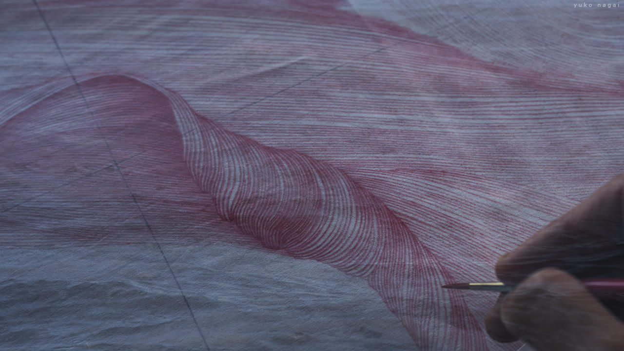 Artwork in progress with ocean surface.