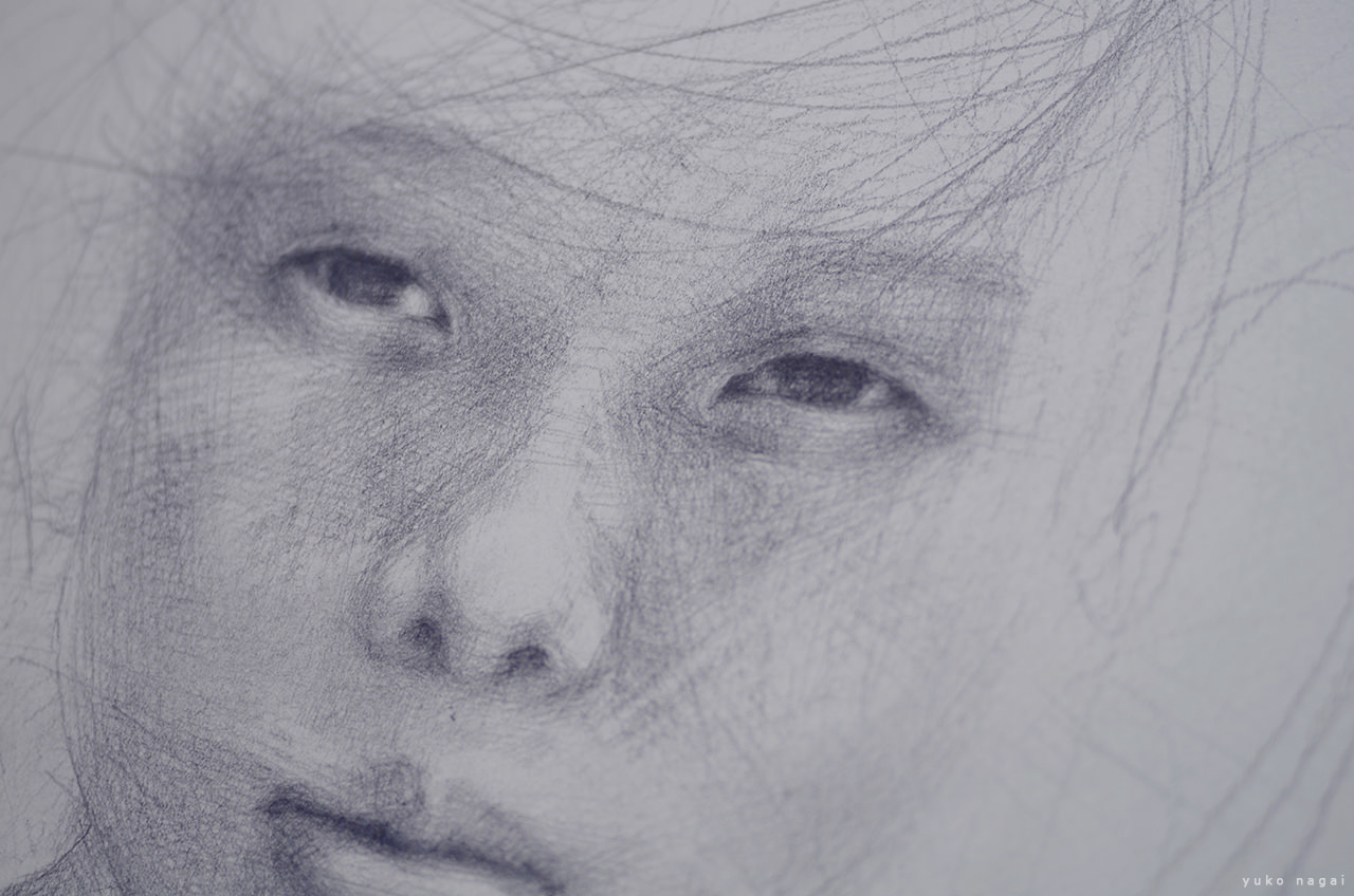 A pencil drawing of a child.