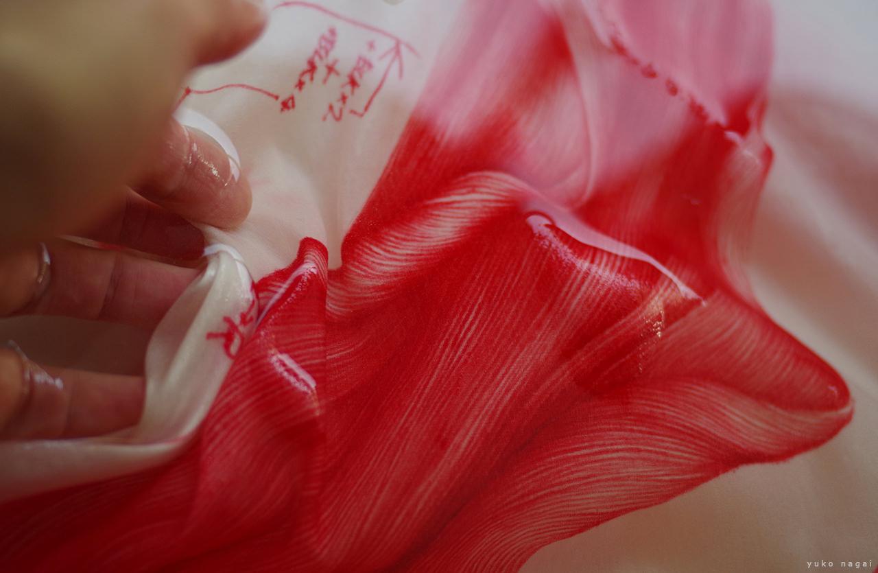 Treating a dye work.