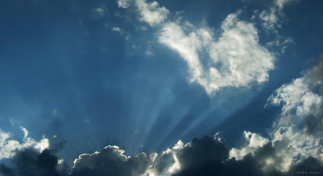 Sun lit clouds.