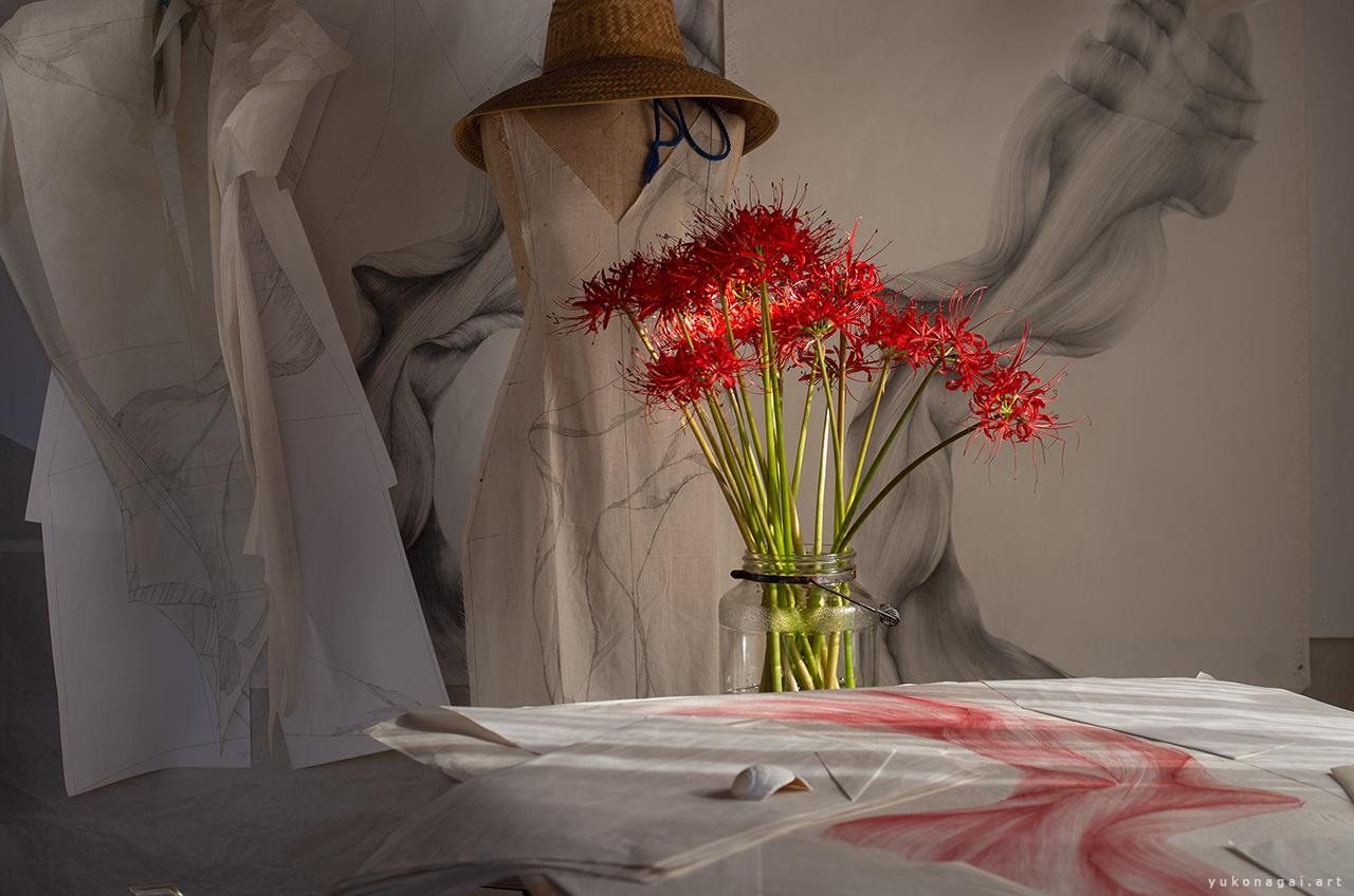 A lily bouquet in an artist studio.