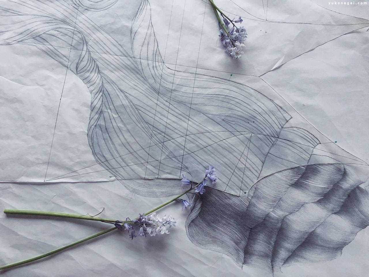 Abstract pencil drawing of a petal, and hyacinths.