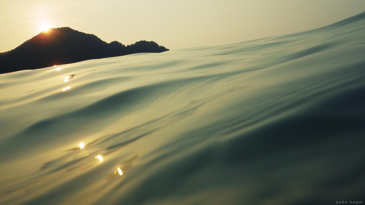 Sea surface at sunset.