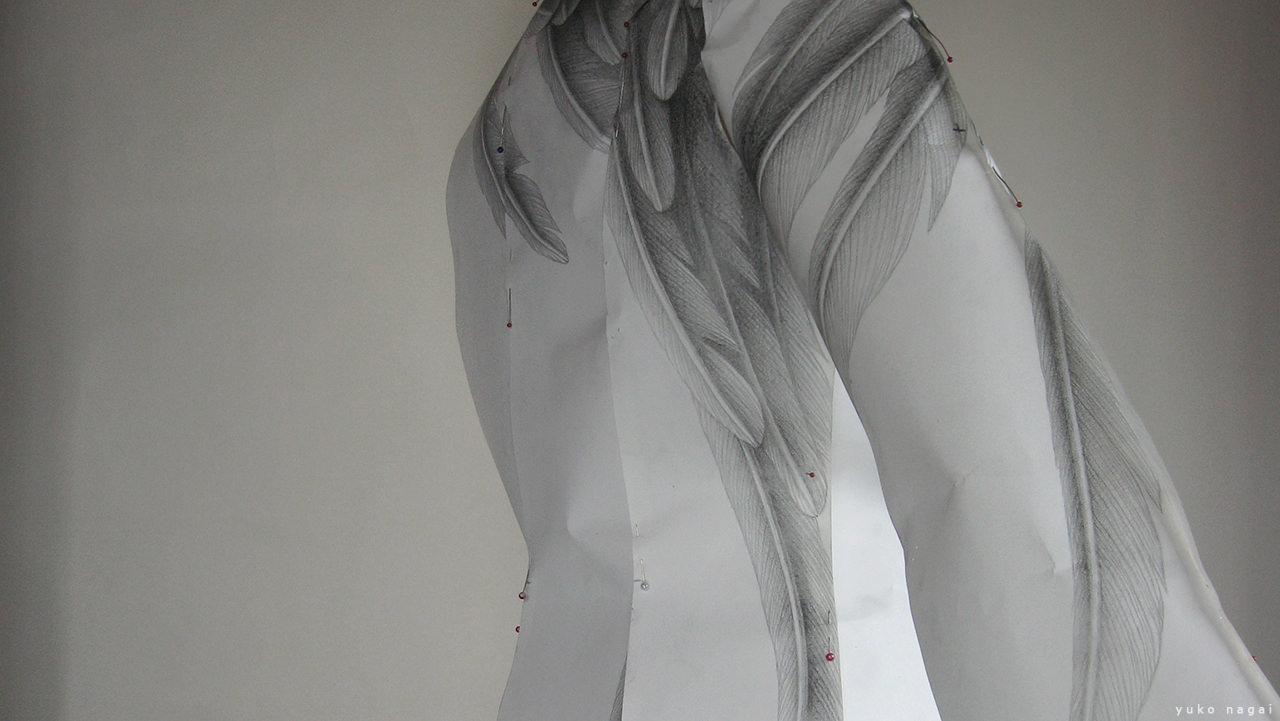 Wing dress pencil drawing.
