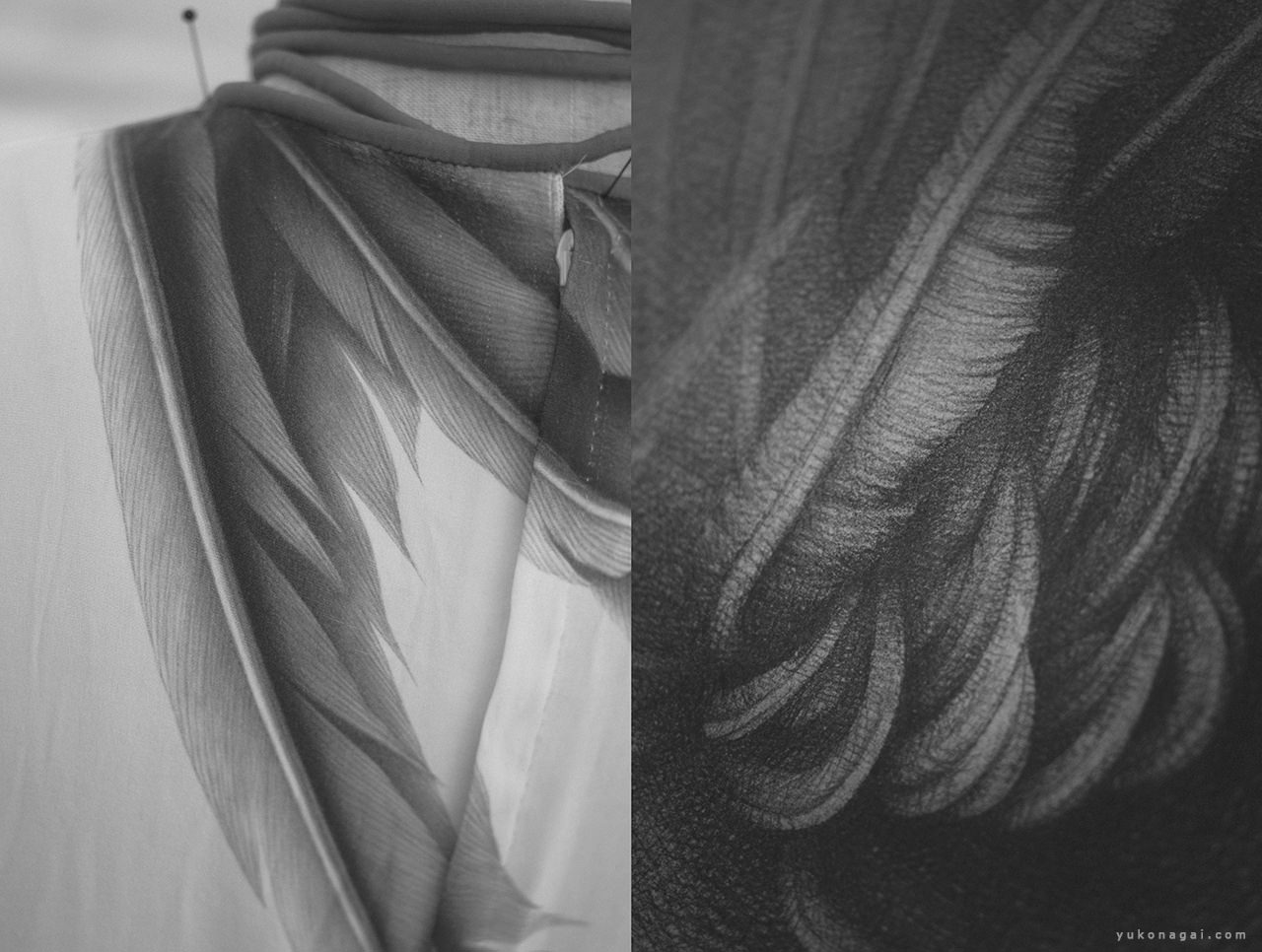 A hand painted dress with a wing drawing