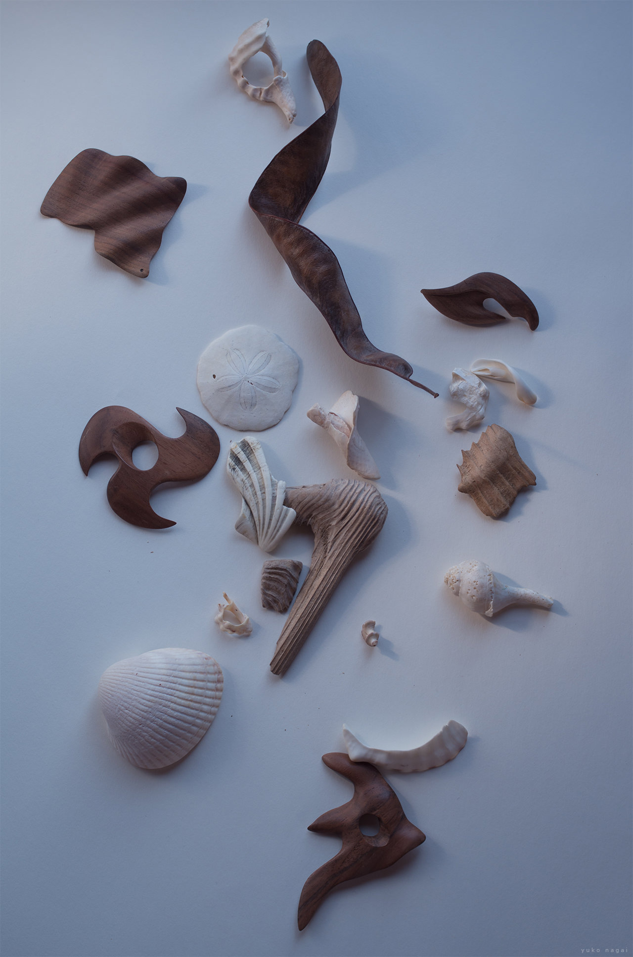 Wood carvings and natural objects.