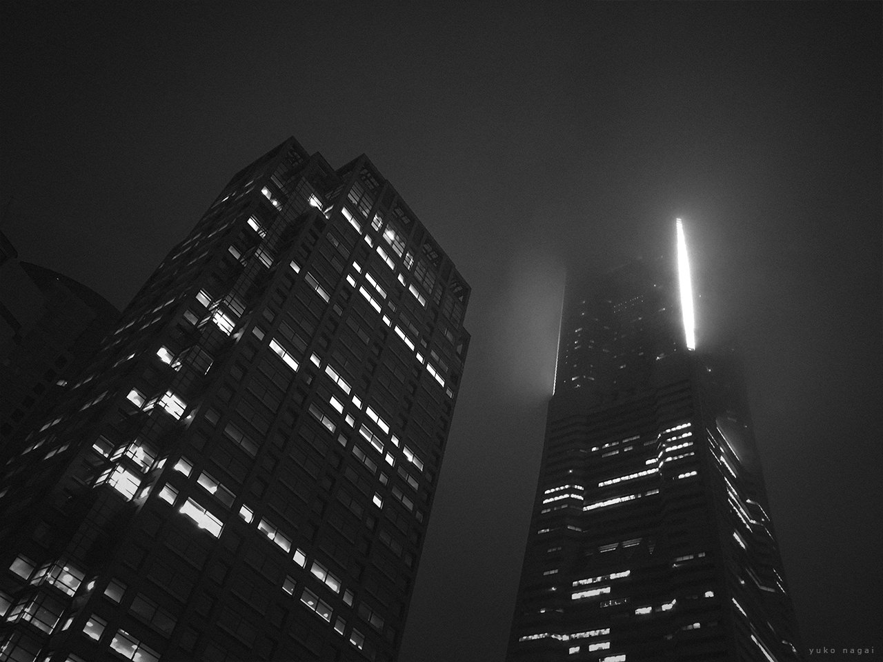 City buildings at night.