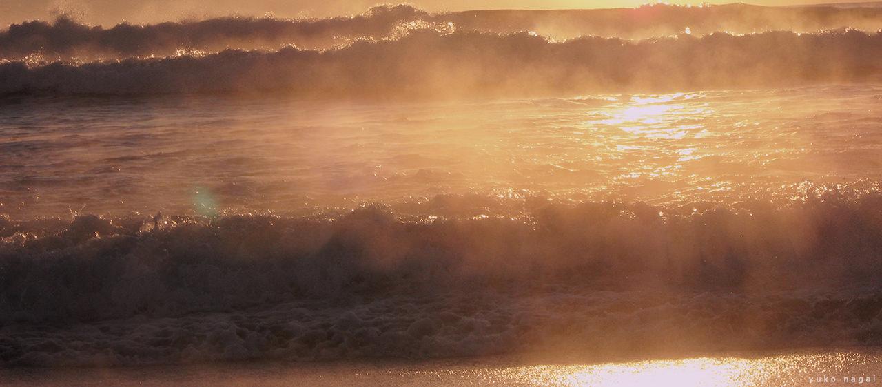 Sea shore at sun rise.
